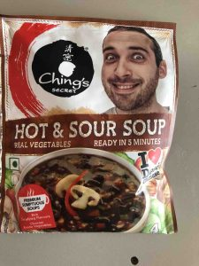 picture of Hot and Sour Soup package with grinning man on it