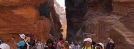 Tourists in the Siq, Petra, Jordan