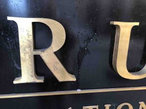 Spittle on the Trump sign