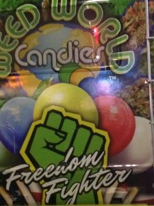 "Candy Vending Machine with the words ""Freedom Fighter"" on the front"