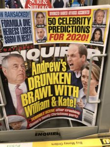 """National Enquire headline """"Andrew's Drunken Brawl with William and Kate"""""""